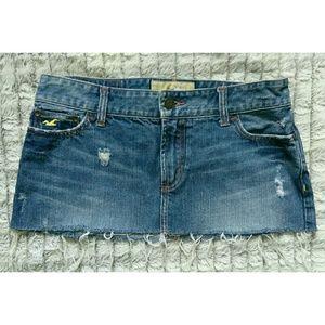 Hollister Distressed Denim Jean Skirt Size 7